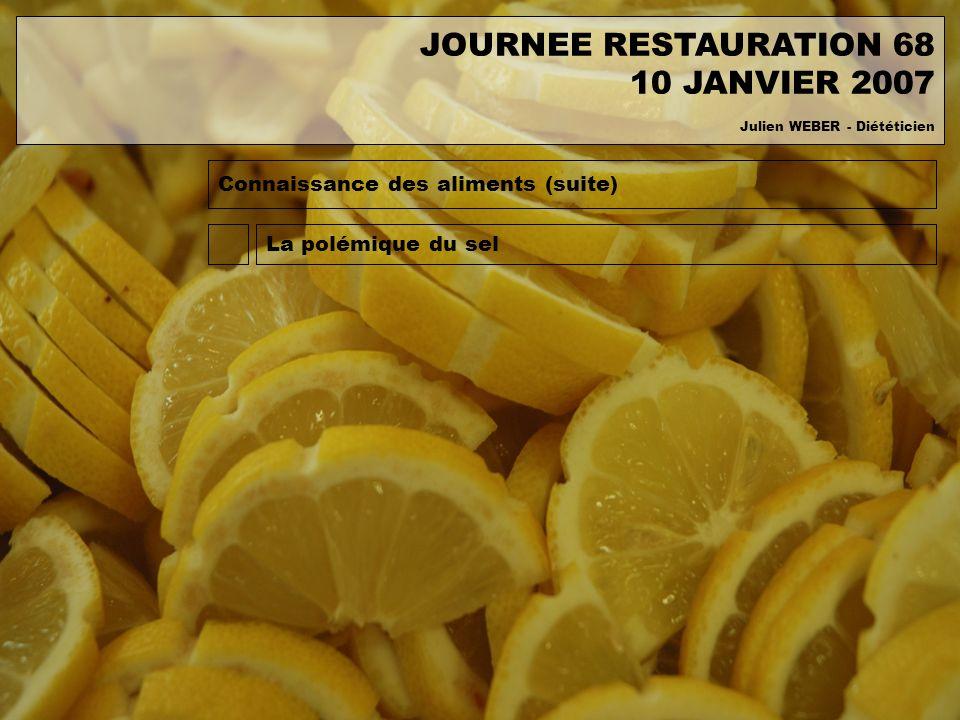 Connaissance des aliments (suite) La polémique du sel JOURNEE RESTAURATION 68 10 JANVIER 2007 Julien WEBER - Diététicien