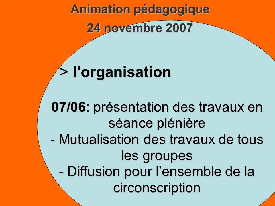 Animation pédagogique 24 novembre 2007 > l organisation 07/06: présentation des travaux en séance plénière - Mutualisation des travaux de tous les groupes - Diffusion pour lensemble de la circonscription
