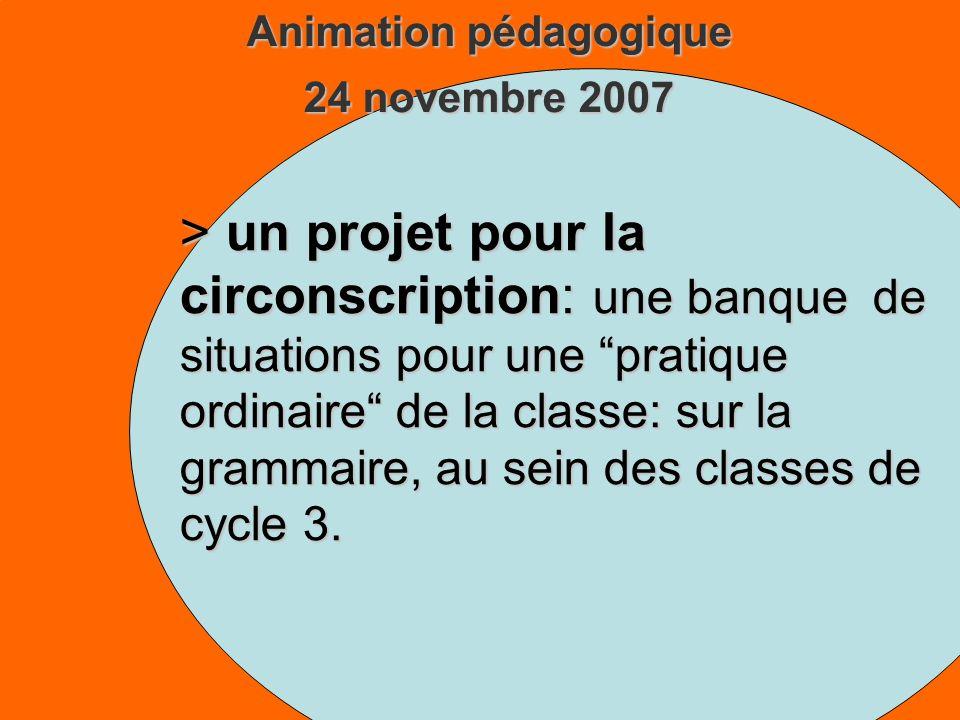 Animation pédagogique 24 novembre 2007 > un projet pour la circonscription: une banque de situations pour une pratique ordinaire de la classe: sur la grammaire, au sein des classes de cycle 3.