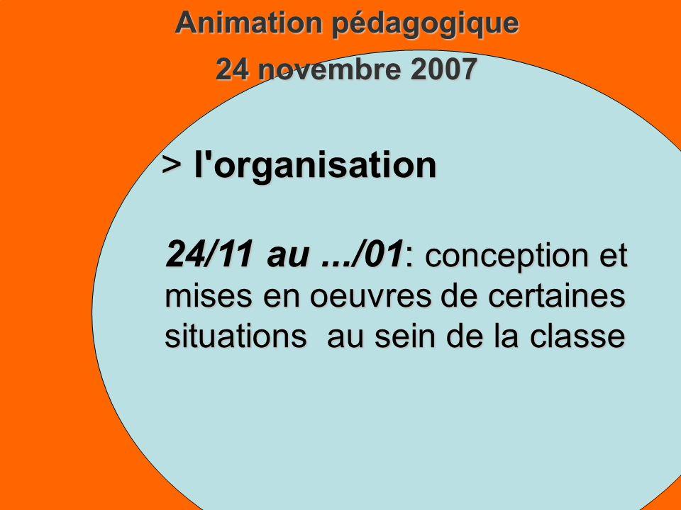 Animation pédagogique 24 novembre 2007 > l organisation 24/11 au.../01: conception et mises en oeuvres de certaines situations au sein de la classe