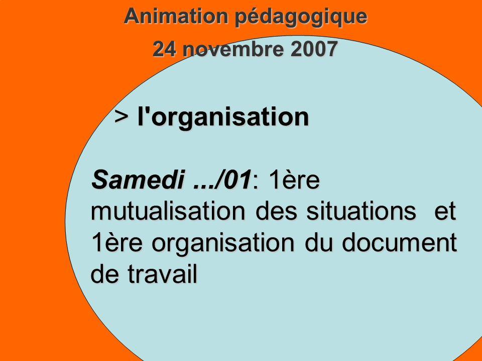 Animation pédagogique 24 novembre 2007 > l organisation Samedi.../01: 1ère mutualisation des situations et 1ère organisation du document de travail