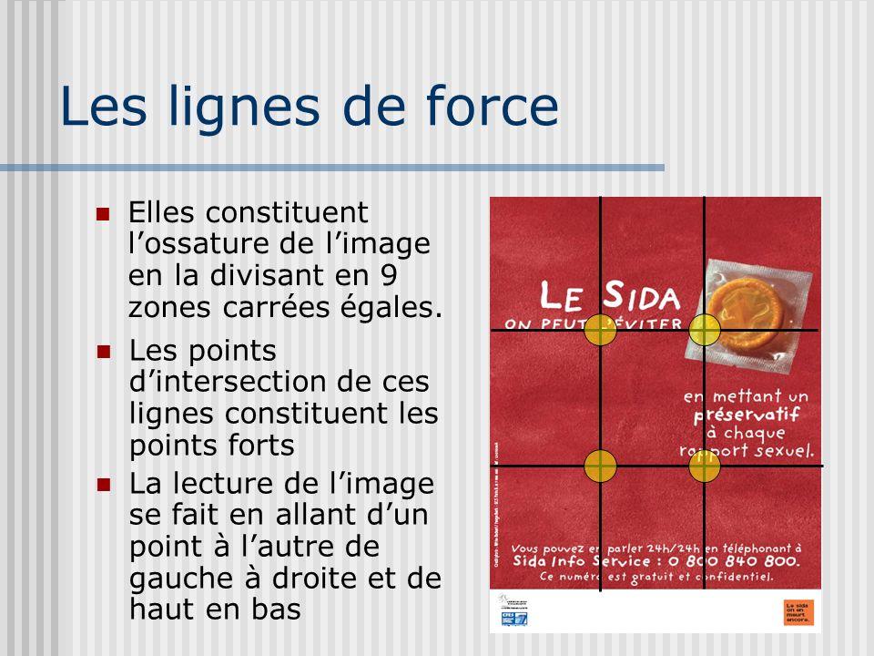Les lignes de force Elles constituent lossature de limage en la divisant en 9 zones carrées égales.