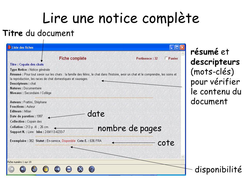 Lire une notice complète résumé et descripteurs (mots-clés) pour vérifier le contenu du document Titre du document disponibilité date nombre de pages