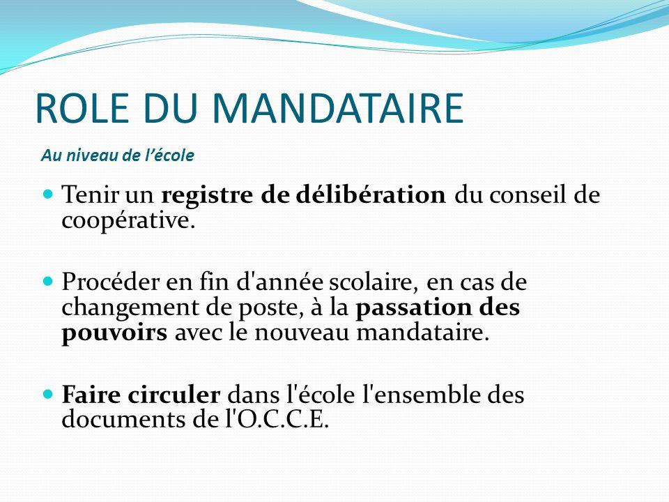 ROLE DU MANDATAIRE Vis-à-vis de lassociation départementale (AD) Procéder à l affiliation de la coopérative dans le mois qui suit la rentrée.