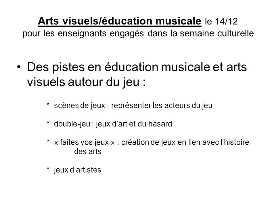 Arts visuels/éducation musicale le 14/12 pour les enseignants engagés dans la semaine culturelle Des pistes en éducation musicale et arts visuels auto