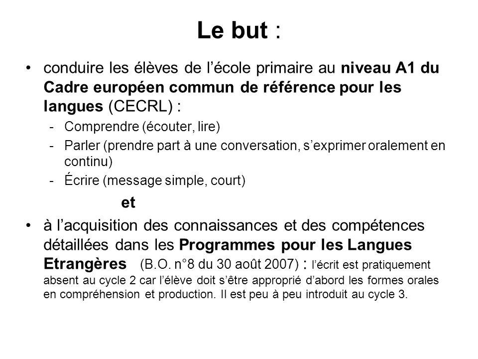 Le but : conduire les élèves de lécole primaire au niveau A1 du Cadre européen commun de référence pour les langues (CECRL) : -Comprendre (écouter, li