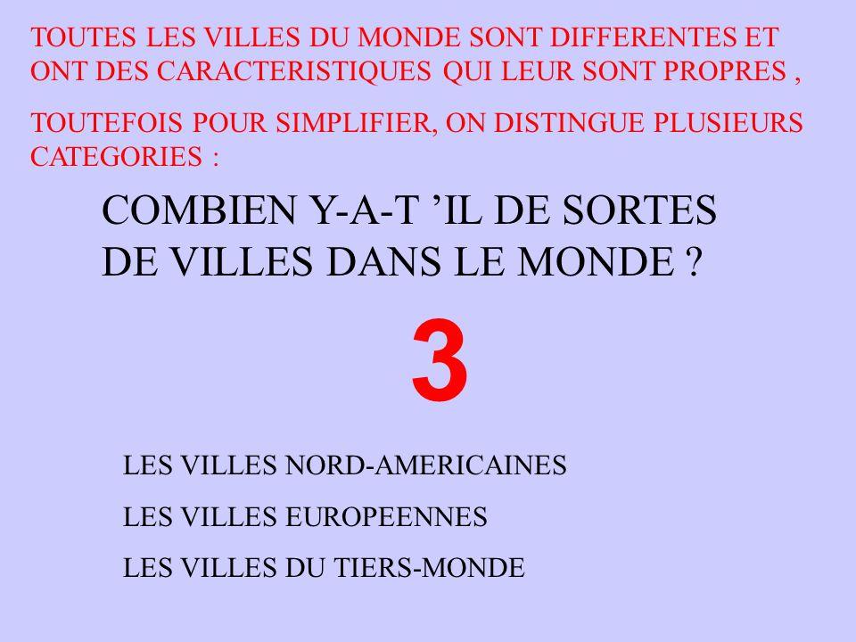 COMBIEN Y-A-T IL DE SORTES DE VILLES DANS LE MONDE ? 3 LES VILLES NORD-AMERICAINES LES VILLES EUROPEENNES LES VILLES DU TIERS-MONDE TOUTES LES VILLES