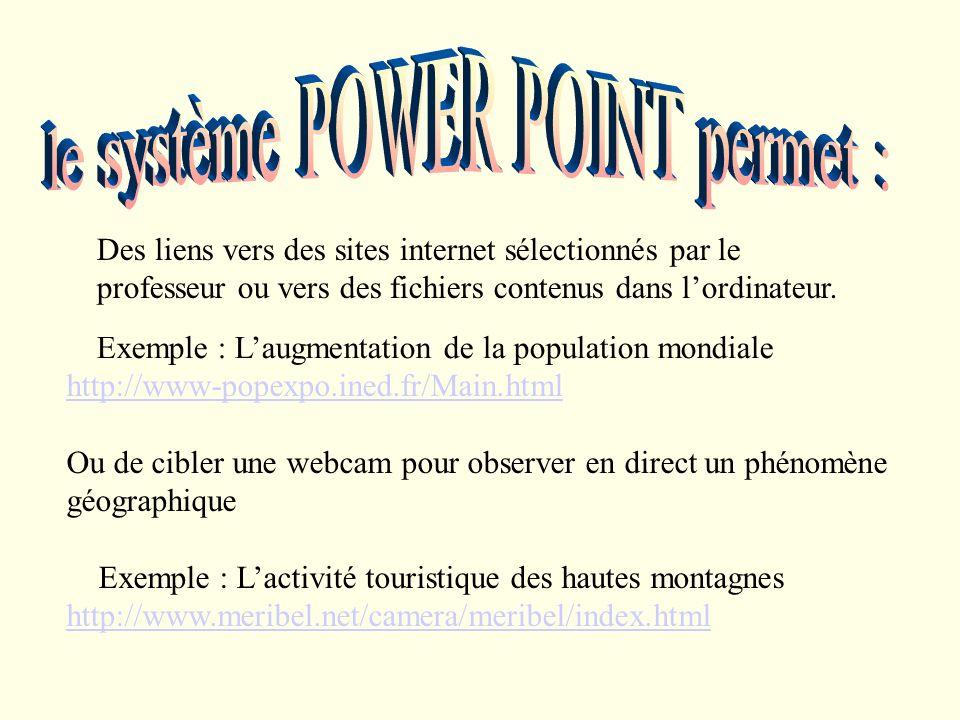 Des liens vers des sites internet sélectionnés par le professeur ou vers des fichiers contenus dans lordinateur.