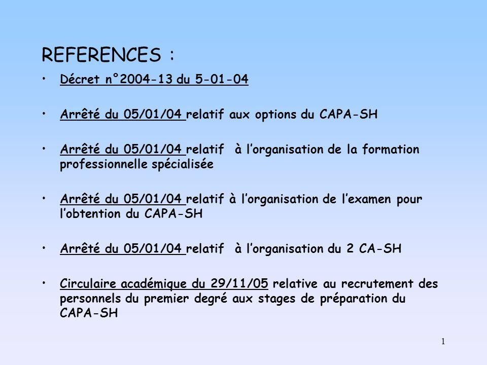 1 REFERENCES : Décret n°2004-13 du 5-01-04 Arrêté du 05/01/04 relatif aux options du CAPA-SH Arrêté du 05/01/04 relatif à lorganisation de la formation professionnelle spécialisée Arrêté du 05/01/04 relatif à lorganisation de lexamen pour lobtention du CAPA-SH Arrêté du 05/01/04 relatif à lorganisation du 2 CA-SH Circulaire académique du 29/11/05 relative au recrutement des personnels du premier degré aux stages de préparation du CAPA-SH