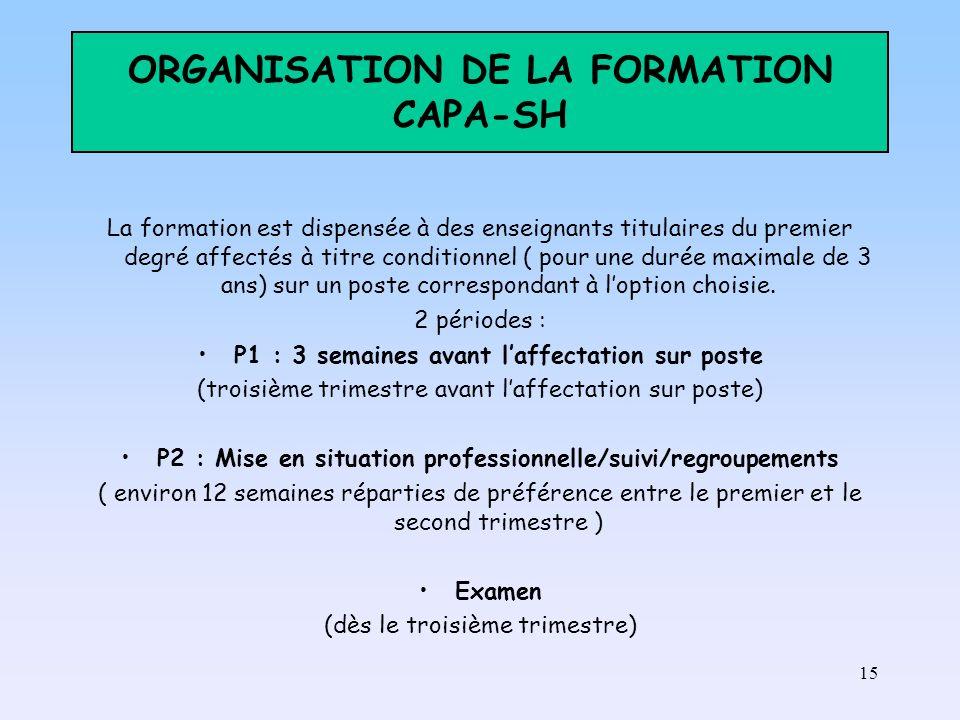 15 ORGANISATION DE LA FORMATION CAPA-SH La formation est dispensée à des enseignants titulaires du premier degré affectés à titre conditionnel ( pour une durée maximale de 3 ans) sur un poste correspondant à loption choisie.