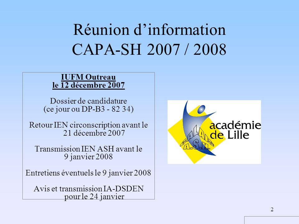 2 Réunion dinformation CAPA-SH 2007 / 2008 IUFM Outreau le 12 décembre 2007 Dossier de candidature (ce jour ou DP-B3 - 82 34) Retour IEN circonscripti