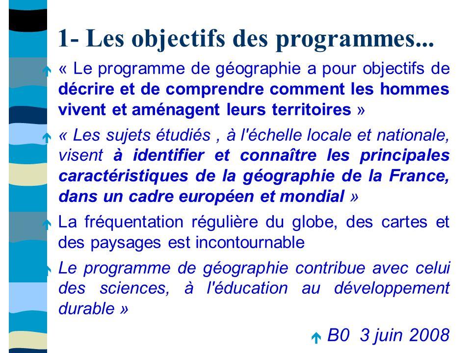 1- Les objectifs des programmes...
