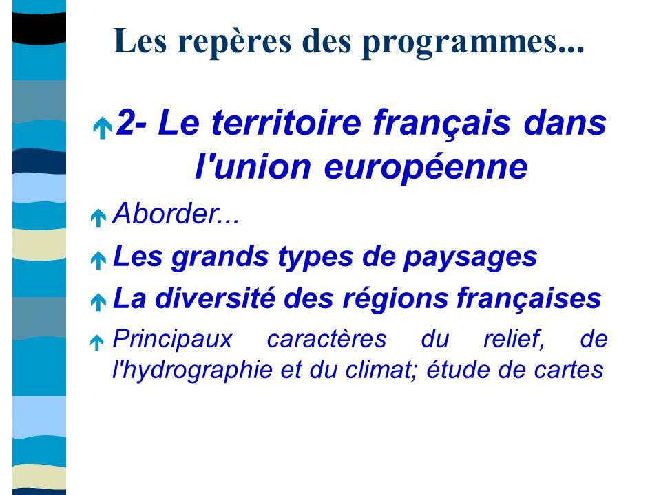 Les repères des programmes... 2- Le territoire français dans l union européenne Aborder...