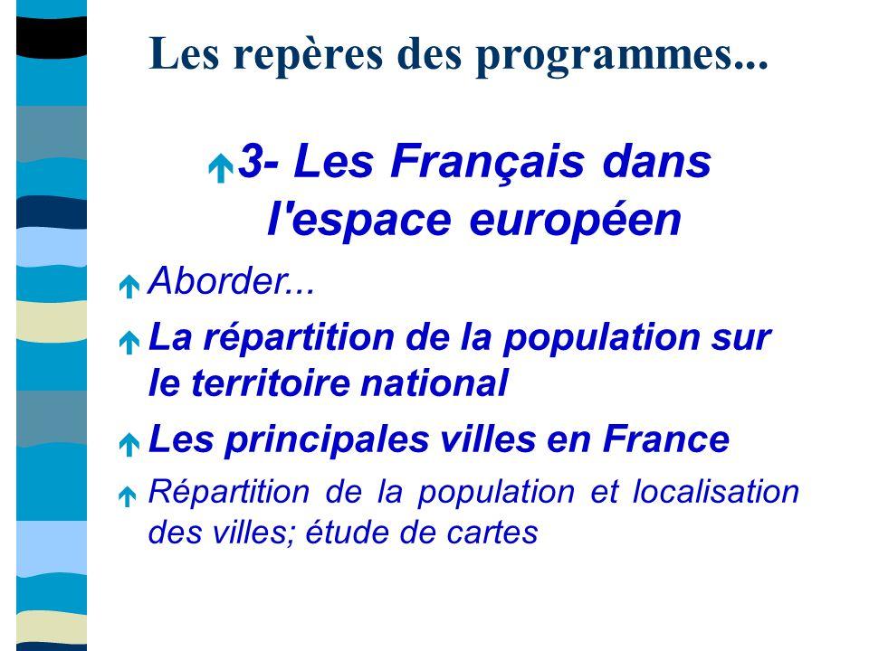 Les repères des programmes... 3- Les Français dans l espace européen Aborder...