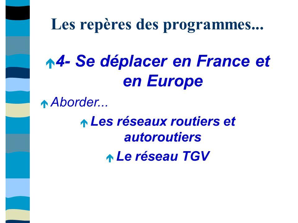 Les repères des programmes... 4- Se déplacer en France et en Europe Aborder...