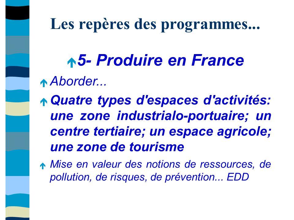 Les repères des programmes... 5- Produire en France Aborder...