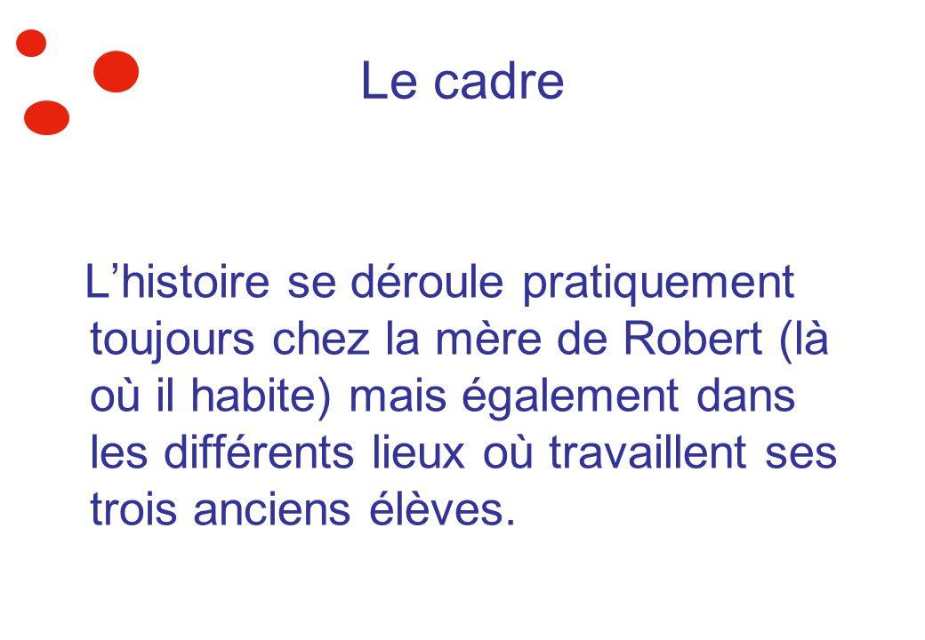Le cadre Lhistoire se déroule pratiquement toujours chez la mère de Robert (là où il habite) mais également dans les différents lieux où travaillent s
