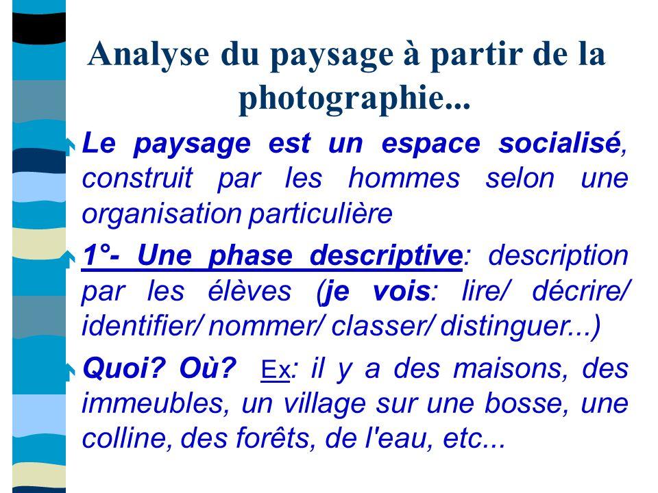 Analyse du paysage à partir de la photographie... Le paysage est un espace socialisé, construit par les hommes selon une organisation particulière 1°-
