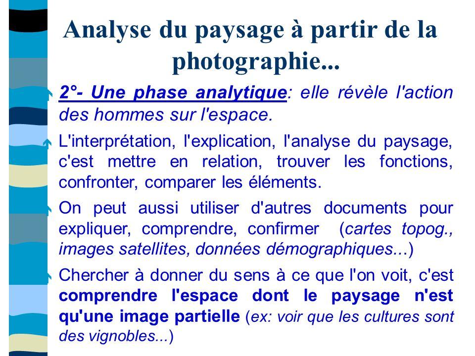 Analyse du paysage à partir de la photographie... 2°- Une phase analytique: elle révèle l'action des hommes sur l'espace. L'interprétation, l'explicat
