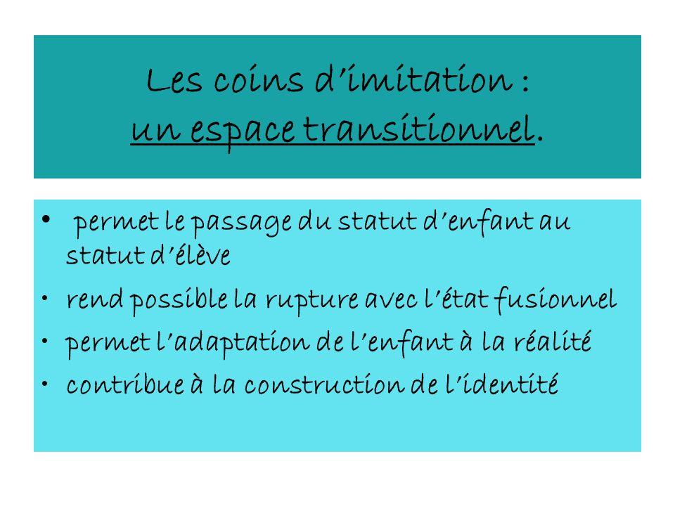 Les coins dimitation : un espace transitionnel. permet le passage du statut denfant au statut délève rend possible la rupture avec létat fusionnel per