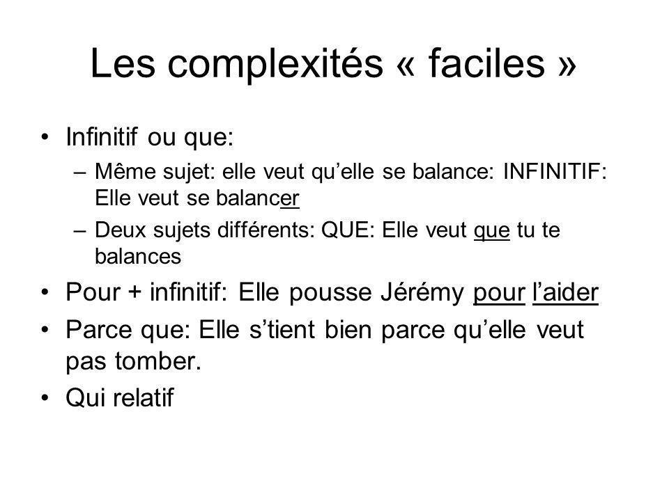 Les complexités « plus difficiles » Gérondif: en courant Pour que Quand Si, comme … Le LUXE: que relatif et où relatif.