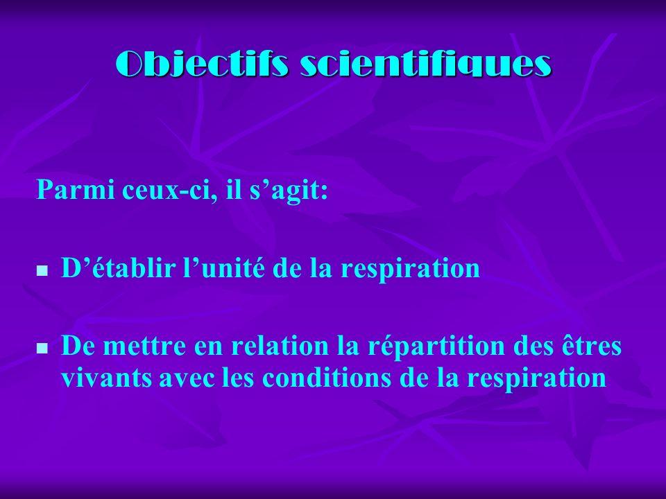 Objectifs scientifiques Parmi ceux-ci, il sagit: Détablir lunité de la respiration De mettre en relation la répartition des êtres vivants avec les conditions de la respiration