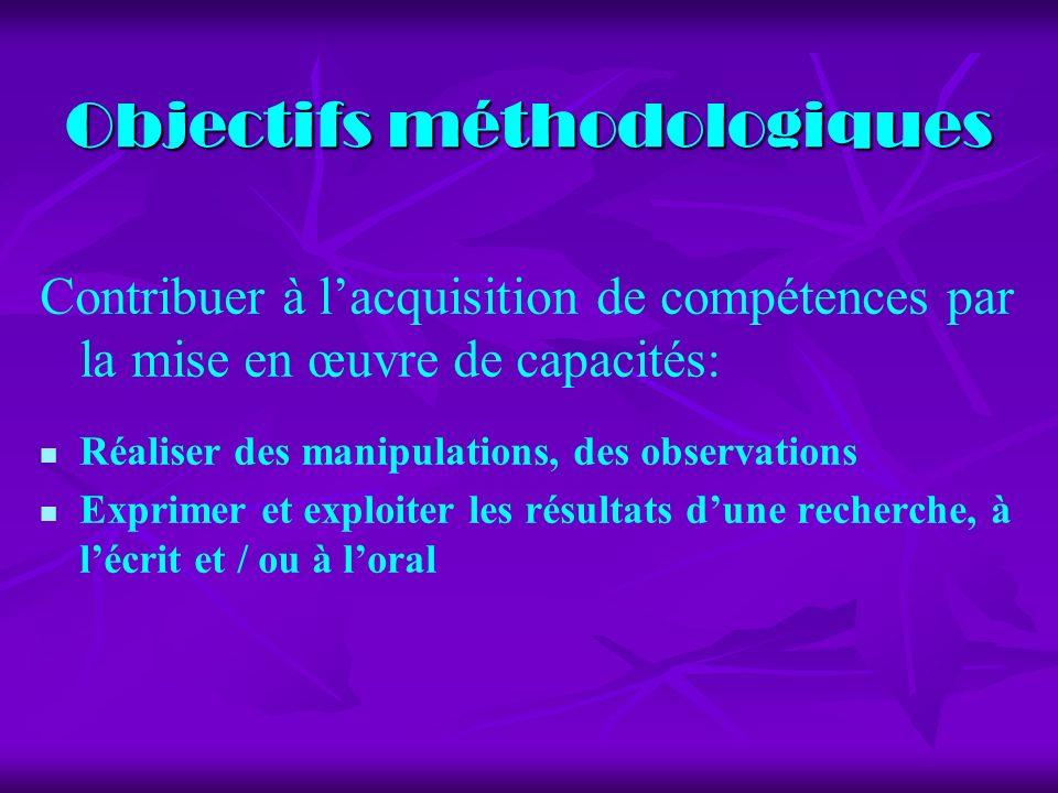 Objectifs méthodologiques Contribuer à lacquisition de compétences par la mise en œuvre de capacités: Réaliser des manipulations, des observations Exprimer et exploiter les résultats dune recherche, à lécrit et / ou à loral