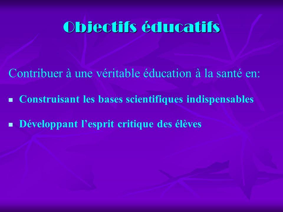 Objectifs éducatifs Contribuer à une véritable éducation à la santé en: Construisant les bases scientifiques indispensables Développant lesprit critique des élèves