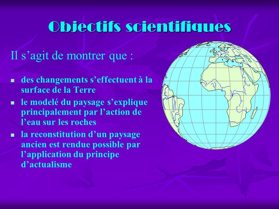 Objectifs scientifiques Il sagit de montrer que : des changements seffectuent à la surface de la Terre le modelé du paysage sexplique principalement p