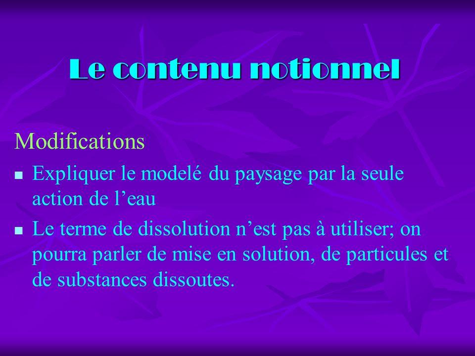 Le contenu notionnel Modifications Expliquer le modelé du paysage par la seule action de leau Le terme de dissolution nest pas à utiliser; on pourra parler de mise en solution, de particules et de substances dissoutes.