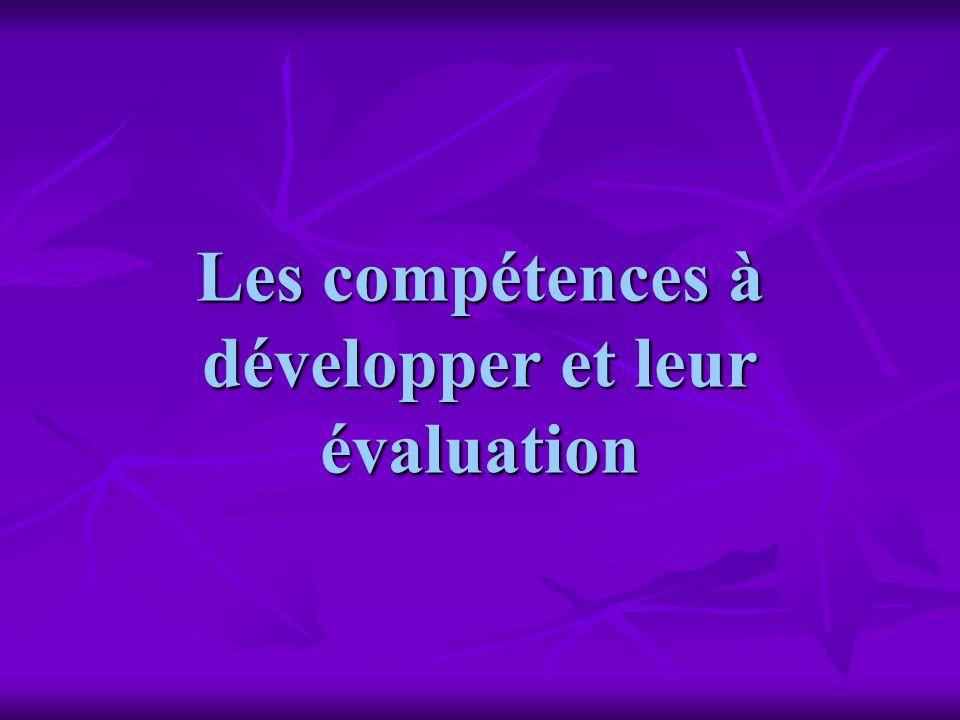 Lévaluation Elle porte sur les compétences identifiées dans la colonne centrale Il sagit dévaluer des connaissances, des capacités (aptitudes) et des attitudes