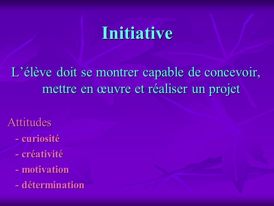 Initiative Lélève doit se montrer capable de concevoir, mettre en œuvre et réaliser un projet Attitudes - curiosité - curiosité - créativité - créativ