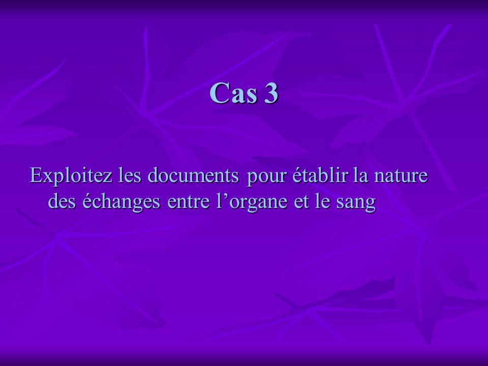 Cas 3 Exploitez les documents pour établir la nature des échanges entre lorgane et le sang