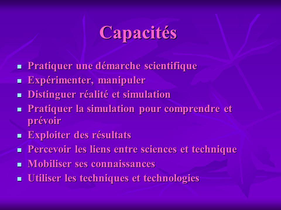 Capacités Pratiquer une démarche scientifique Pratiquer une démarche scientifique Expérimenter, manipuler Expérimenter, manipuler Distinguer réalité e