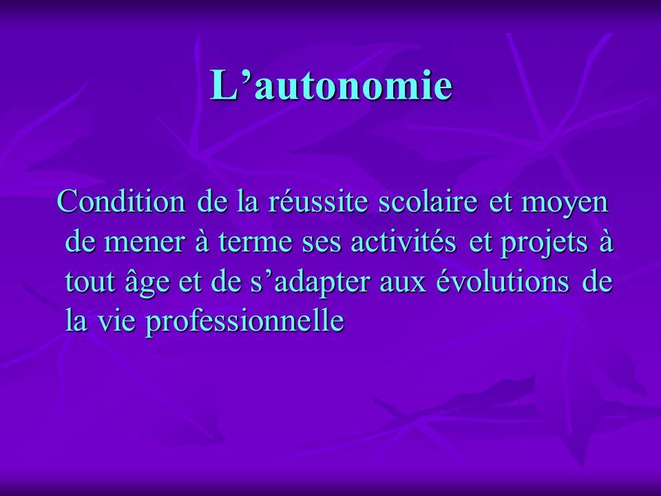 Lautonomie Condition de la réussite scolaire et moyen de mener à terme ses activités et projets à tout âge et de sadapter aux évolutions de la vie pro