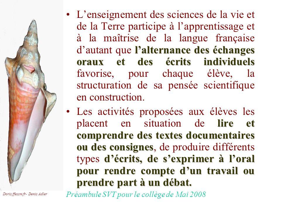 Doris.ffessm.fr- Denis Adler lalternance des échanges oraux et des écrits individuelsLenseignement des sciences de la vie et de la Terre participe à l