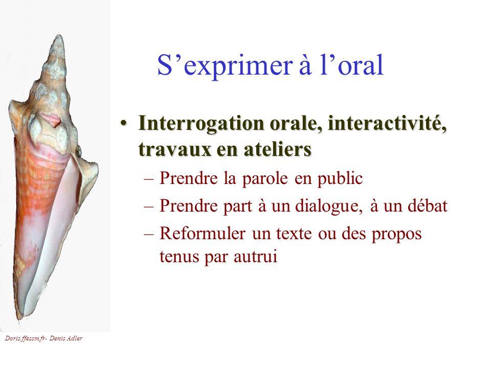 Doris.ffessm.fr- Denis Adler Sexprimer à loral Interrogation orale, interactivité, travaux en ateliersInterrogation orale, interactivité, travaux en a