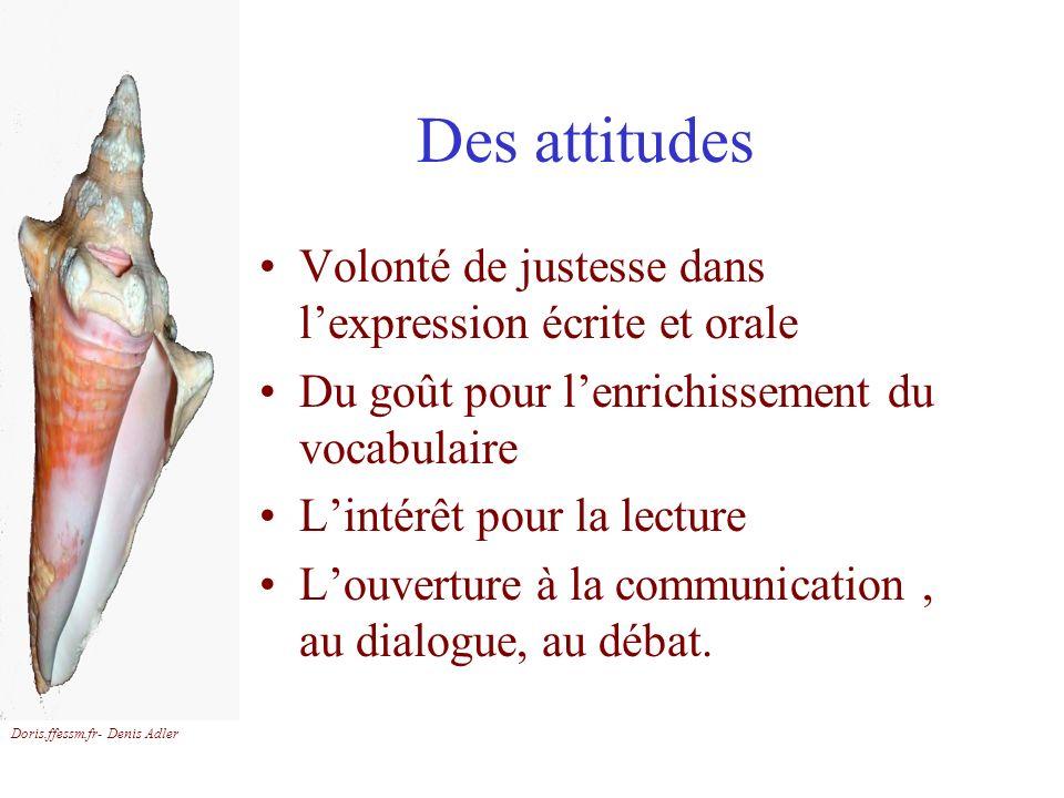 Doris.ffessm.fr- Denis Adler Des attitudes Volonté de justesse dans lexpression écrite et orale Du goût pour lenrichissement du vocabulaire Lintérêt p