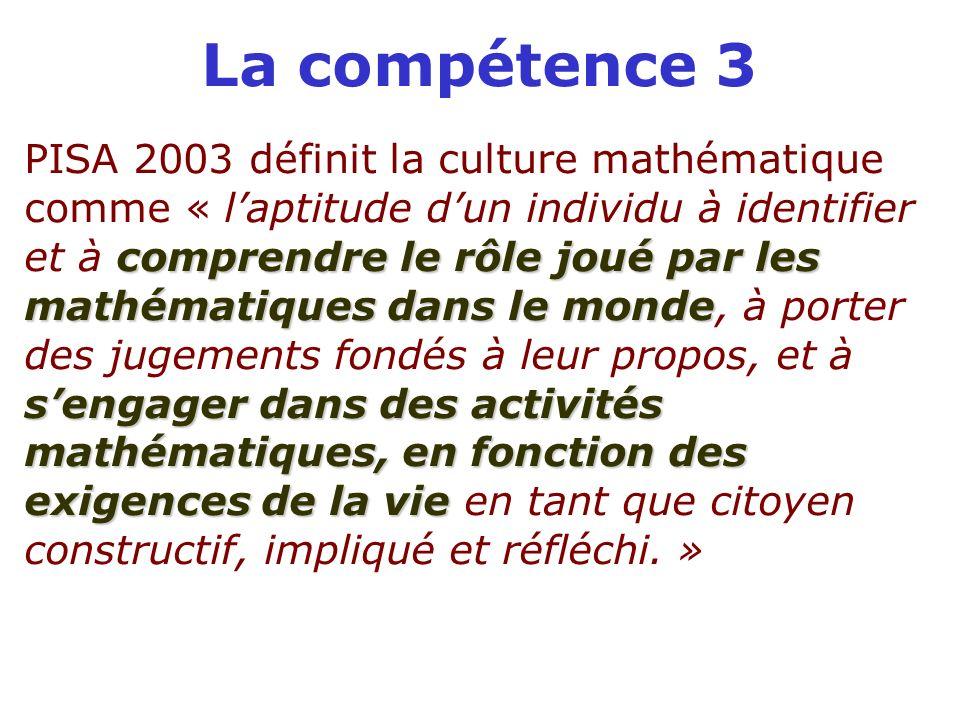 La compétence 3 comprendre le rôle joué par les mathématiques dans le monde sengager dans des activités mathématiques, en fonction des exigences de la