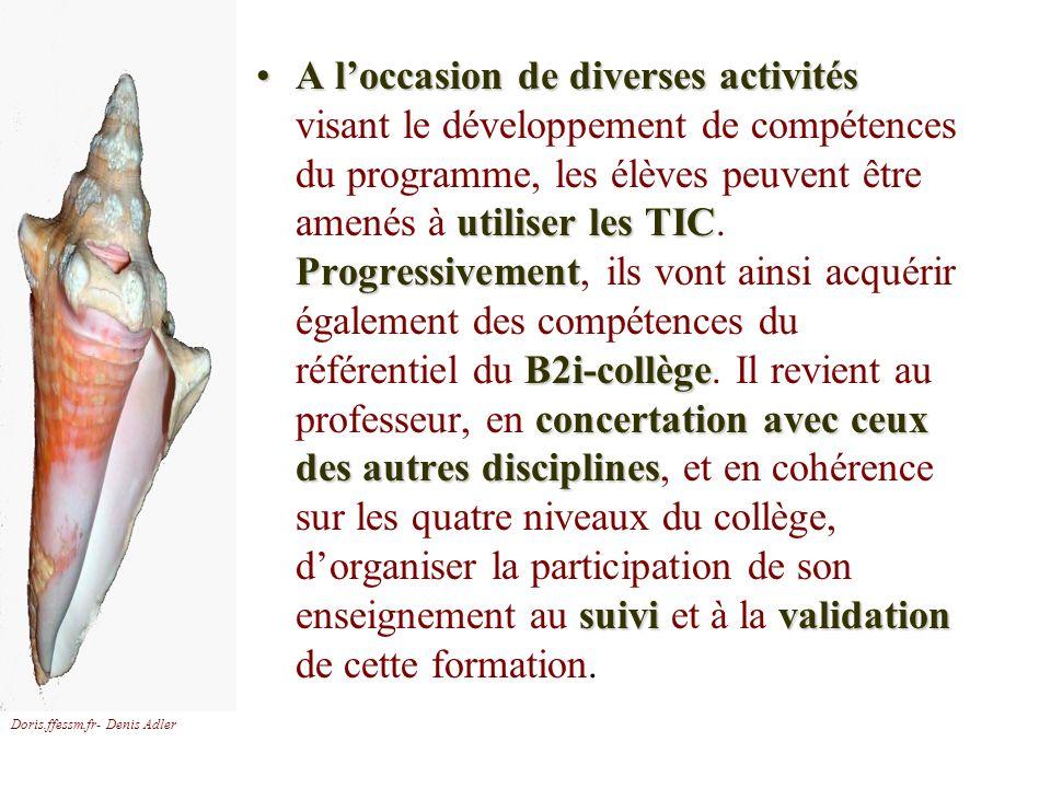 Doris.ffessm.fr- Denis Adler A loccasion de diverses activités utiliser les TIC Progressivement B2i-collège concertation avec ceux des autres discipli