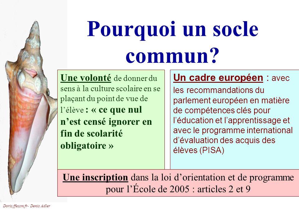 Doris.ffessm.fr- Denis Adler Pourquoi un socle commun? Un cadre européen : avec les recommandations du parlement européen en matière de compétences cl
