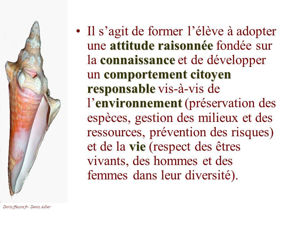 Doris.ffessm.fr- Denis Adler attitude raisonnée connaissance comportement citoyen responsable environnement vieIl sagit de former lélève à adopter une