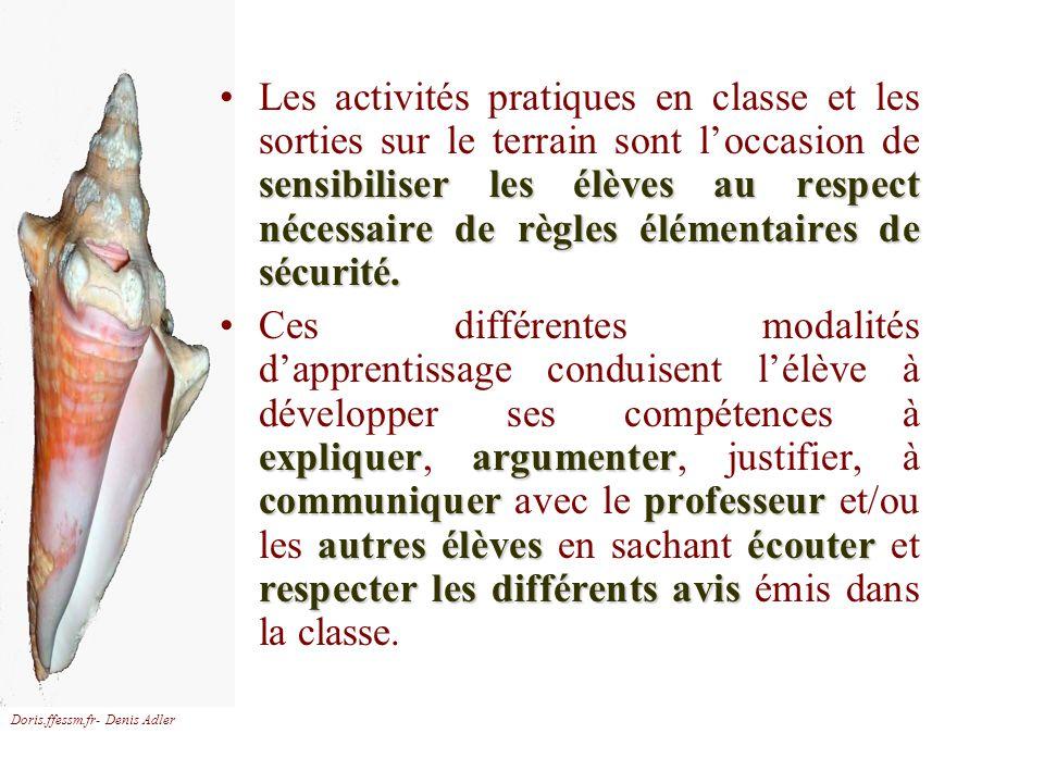 Doris.ffessm.fr- Denis Adler sensibiliser les élèves au respect nécessaire de règles élémentaires de sécurité.Les activités pratiques en classe et les