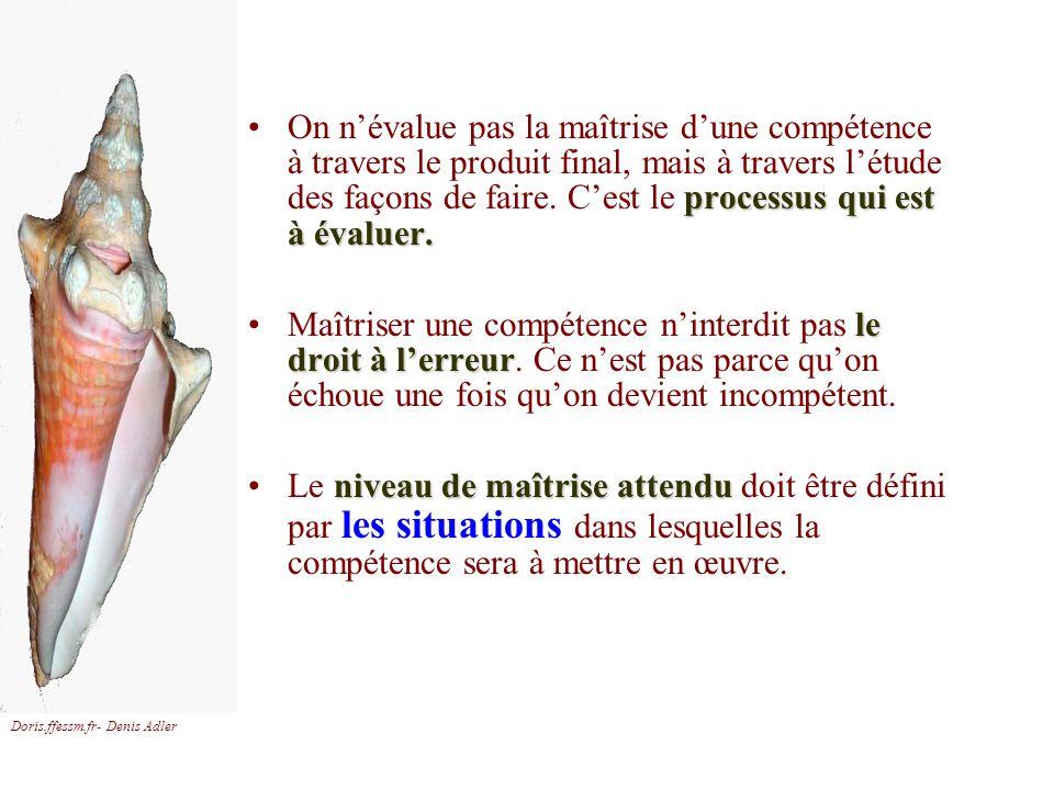 Doris.ffessm.fr- Denis Adler processus qui est à évaluer.On névalue pas la maîtrise dune compétence à travers le produit final, mais à travers létude