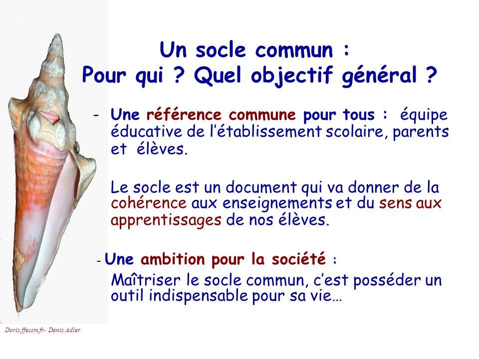 Doris.ffessm.fr- Denis Adler Un socle commun : Pour qui ? Quel objectif général ? -Une référence commune pour tous : équipe éducative de létablissemen