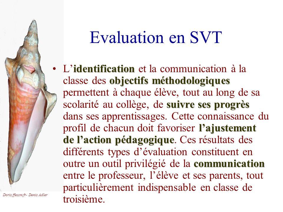 Doris.ffessm.fr- Denis Adler Evaluation en SVT identification objectifs méthodologiques suivre ses progrès lajustement de laction pédagogique communic