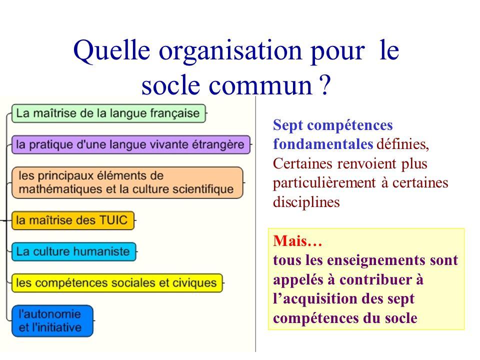 Sept compétences fondamentales définies, Certaines renvoient plus particulièrement à certaines disciplines Quelle organisation pour le socle commun ?