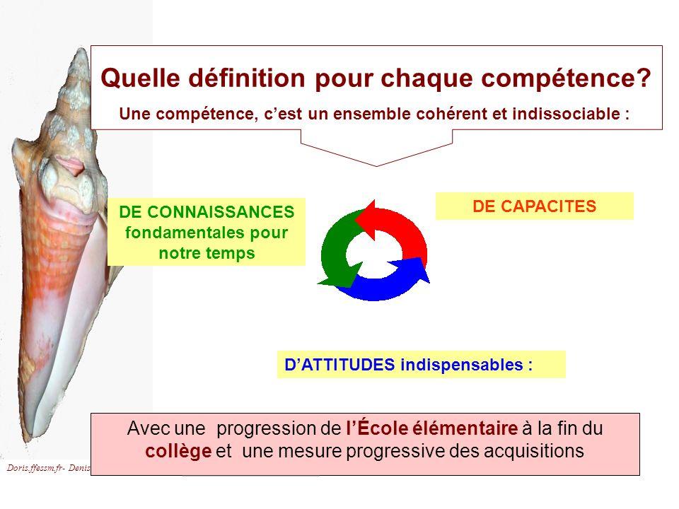 Doris.ffessm.fr- Denis Adler Quelle définition pour chaque compétence? Une compétence, cest un ensemble cohérent et indissociable : Avec une progressi