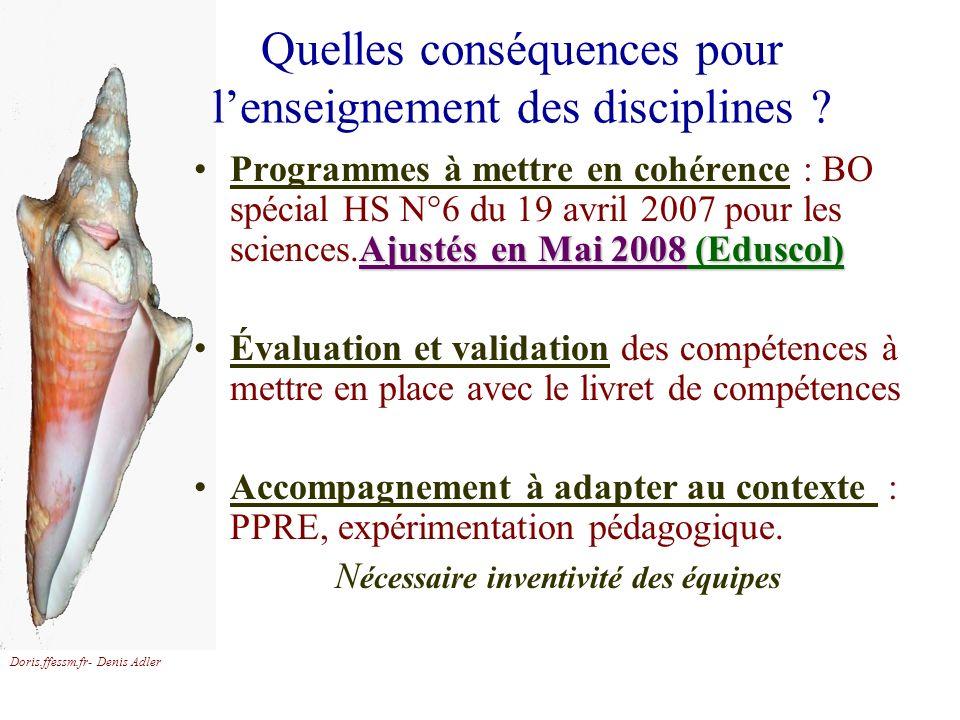 Doris.ffessm.fr- Denis Adler Quelles conséquences pour lenseignement des disciplines ? Ajustés en Mai 2008Ajustés en Mai 2008 (Eduscol)Programmes à me