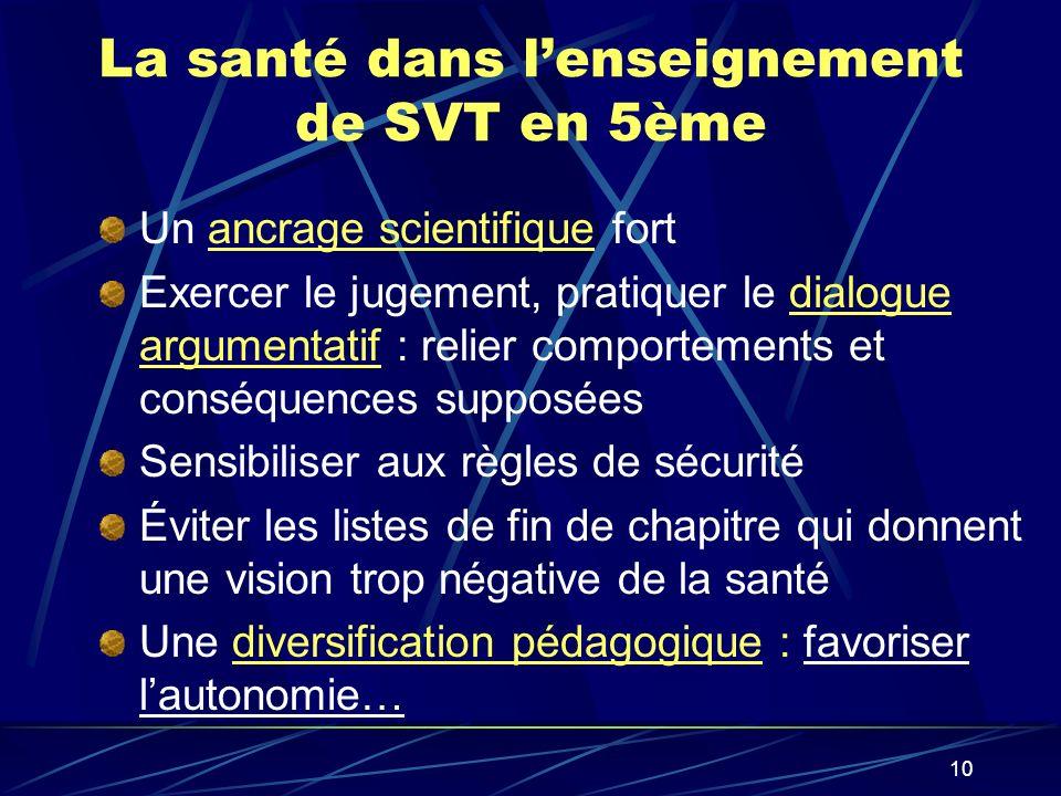 10 La santé dans lenseignement de SVT en 5ème Un ancrage scientifique fort Exercer le jugement, pratiquer le dialogue argumentatif : relier comporteme